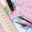 Topographic map of district with  measuring instrument  — Stock Photo #59044319