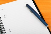 Open notebook and pen for writing close-up — Stock Photo