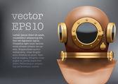 Background of Underwater diving suit helmet. Vector Illustration — Stock Vector