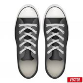 Pair of simple sneakers. Realistic Vector Illustration. — Stock Vector