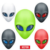 Set of Alien head creature from another world. Vector. — Stock Vector