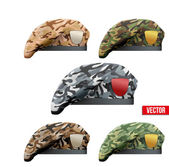 Set of Military Camo Beret Special Forces — Stock vektor