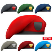 Set of Military colorful Berets Army Special Forces — ストックベクタ