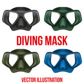 Set of Underwater diving scuba mask. Vector — Stock Vector