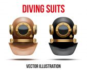 Set of Underwater diving suit helmet. Vector Illustration — Stock Vector