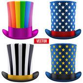 Set of magic hats cylinder. Vector Illustration — Stock Vector