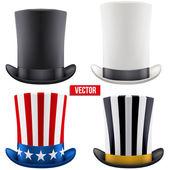 Set of tall gentleman hat cylinder. Vector Illustration. — Stock Vector