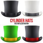 Set of gentleman hat cylinder. Vector Illustration. — Stock Vector