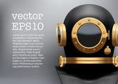 Background of Underwater diving suit helmet. Vector Illustration — Stockvektor