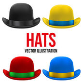 Set of colorful bowler hats. Vector Illustration. — Stock Vector