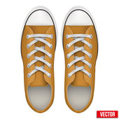 Pair of orange simple sneakers. Realistic Vector Illustration. — Stockvektor