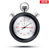 Realistic shine analog stop watch frimed rubber tires. Vector illustration. — Stockvector