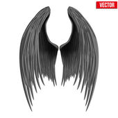 Black folded angel wings. Vector. — Vecteur