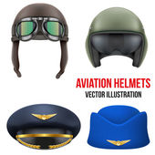 Retro aviator pilot helmet with goggles. Isolated on white — Stock Vector