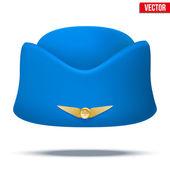 Classic Stewardess hat forage-cap of air hostess uniform. Vector. — Stock Vector