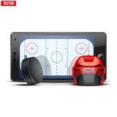 アイス ホッケーのヘルメット、パックと、画面上のフィールドを持つ携帯電話. — ストックベクタ