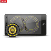 Mobile phone with racing wheel and track on the screen. — Stock Vector