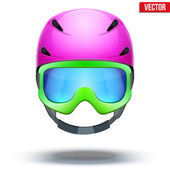 Front view of Classic pink Ski helmet and green snowboard goggles. Vector isolated on white background — Vetorial Stock
