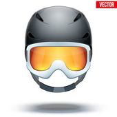 Front view of Classic black Ski helmet and snowboard goggles. Vector isolated on white background — Stock Vector