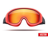 Classic red snowboard ski goggles with colorful glass. Vector — Vetorial Stock