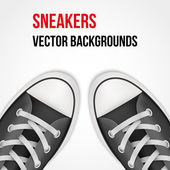 Background of simple black classic sneakers. Realistic Vector Illustration. — Stock Vector