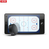 Mobile phone with ice hockey puck and field on the screen. — Vettoriale Stock