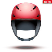Front view of Classic red Ski helmet. Vector isolated on white background — Stock Vector