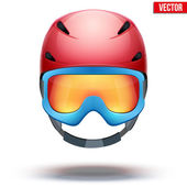 Front view of Classic red Ski helmet and blue snowboard goggles. Vector isolated on white background — Stockvector