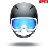 Front view of Classic blue Ski helmet and orange snowboard goggles. Vector isolated on white background — Stock Vector