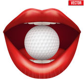 Womans open mouth with golf ball in lips. — Vecteur