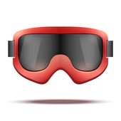 Classic vintage old school red snowboard ski goggles with black glass. — Stock Vector