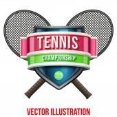 テニスのスポーツ競争のラベルです。明るいプレミアム デザイン。ベクトル図. — ストックベクタ