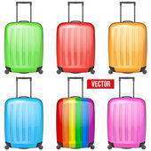 Set of Classic plastic luggage suitcase for air or road travel — Vector de stock