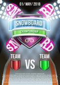 Posterler snowboard alan oyun duyuru için arka plan. Vektör — Stok Vektör
