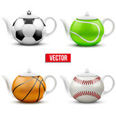 Set of different ceramic teapots in form balls — Stockvector