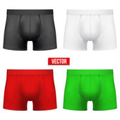Set Male of different colors underpants briefs. Vector Illustration — Stock Vector