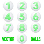 Full collection of icons balls with numbers. — Stock Vector