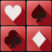 Flat icon set playing cards suit — Stock Vector