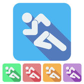 Set of Flat icon with Running people simple symbol. Vector — Stock Vector