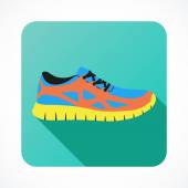 Shoes flat icon with bright colorful running sneakers. Vector illustration. — Stock Vector