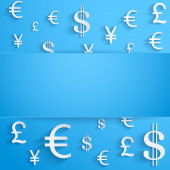 Business background with money Currency symbols — Stock Photo