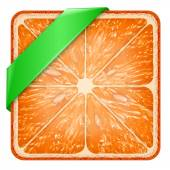 Square slice of grapefruit Green ribbon. — Stock Photo