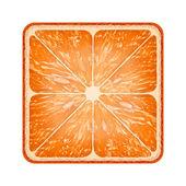 Square slice of grapefruit. Isolated on white background. — Stock Photo