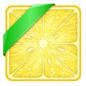 Square slice of lemon Green Line. — Stock Photo