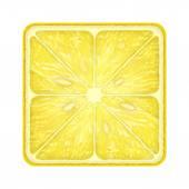 Square slice of lemon. Isolated on white background. — Stock Photo