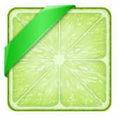 Square slice of lime Green Line. — Stock Photo