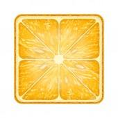 Square slice of orange. Isolated on white background. — Stock Photo