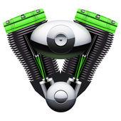 Bio green motorcycle motor engine. — Stock Photo