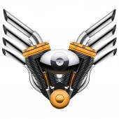Motorcycle engine with metal wings. — Stock Photo