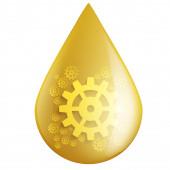 Símbolo de la gota de aceite industrial con engranajes engranajes — Foto de Stock